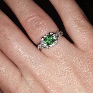 925 sterling silver genuine Emerald diamond ring